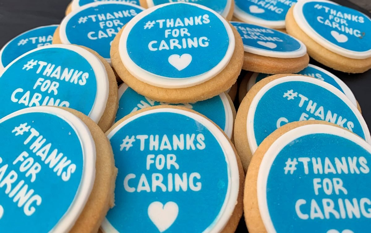 Cookies that read 'Thanks for Caring'