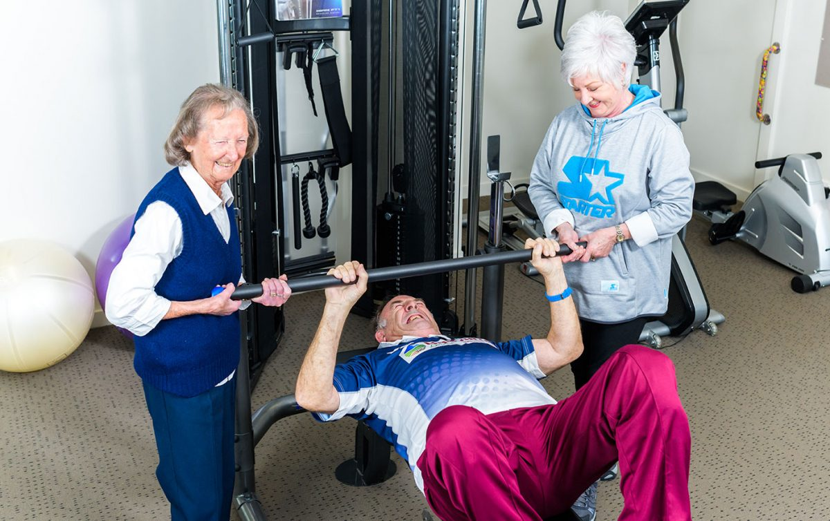 Aged care residents using the gym