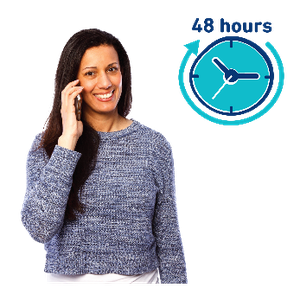 "Woman talking on the phone. There is a clock with an arrow going around it and ""48 hours""."