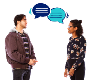 Two people talking to each other. There are two speech bubbles.