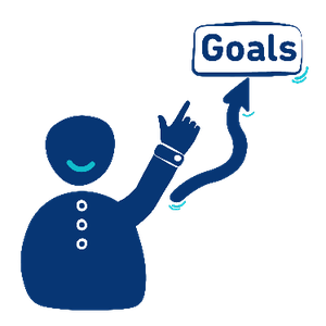 A person pointing up at the word goals