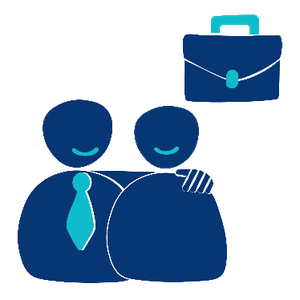 Two people. One person is smiling with a briefcase next to them and the other person has their arm around them.