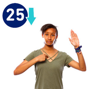 A woman is pointing at herself with her other hand raised. Next to her is the number 25 with an arrow pointing down.