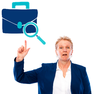 A woman is pointing at a briefcase with a search symbol in front of it.