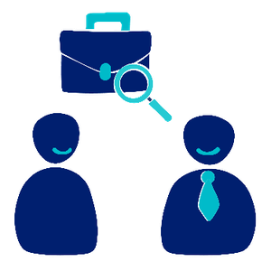 Two people. A person and a support worker. Above them is a briefcase with a search symbol in front of it.