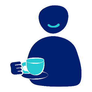 A person smiling holding a tea cup and saucer