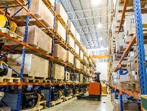 A warehouse with cardboard boxes