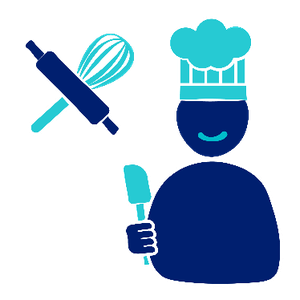 A person smiling, wearing a chef hat and holding a spatula with a rolling pin and whisk behind them