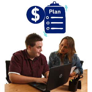 A man using a laptop. Next to him is his support worker. There is a dollar sign and a clipboard with the word plan above them.