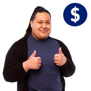 A woman smiling with two thumbs up. There is a dollar symbol above her.