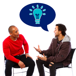 Two men sitting down facing each other. A speech bubble with a lightbulb is above one of them.