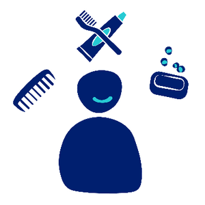 A person smiling with three symbols around them, including a hair comb, a toothbrush and toothpaste, and a bar of soap