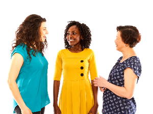 Three women standing and talking to each other