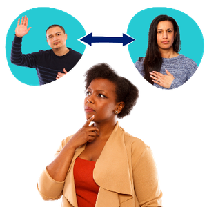 A woman pointing at herself thinking. Two people in speech bubbles. A man has his hand raised and a woman has her hand on her chest.