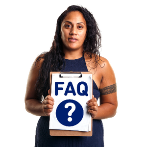 A woman holding a sign that has the word FAQ written and a question mark