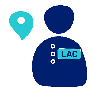 A person wearing a badge with LAC written and a location pin next to them