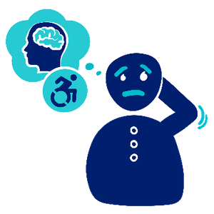 Logo of a person looking worried. Next to them are two speech bubbles including a person looking to the side and showing their brain, and a person pushing in a wheelchair.