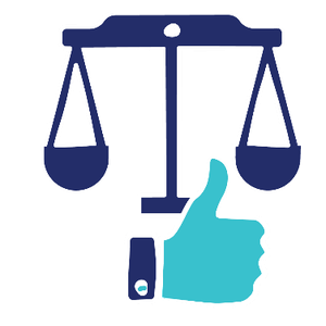 Logo of a pair of weight scales with a thumbs up symbol in front