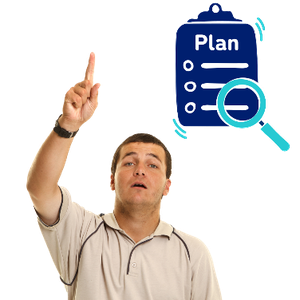A man pointing up to ask a question. Above him is plan form with a search symbol.