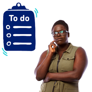 A woman thinking. Above her is a to-do list form.