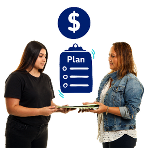 A support worker helping a woman with paperwork. Above them is a dollar symbol and a plan form.