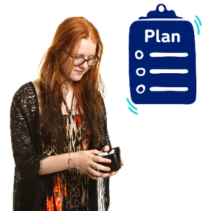 A woman is looking down and opening up her wallet. Above her is a plan form.