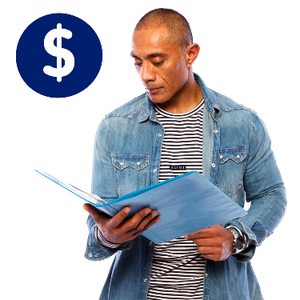 A man reading a book. Above him is a dollar symbol.