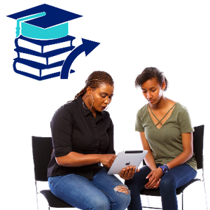 Two women sitting down using a tablet. Above them is a pile of books with a graduation cap sitting on top and an arrow pointing right.