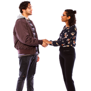 Two people facing each other and shaking hands