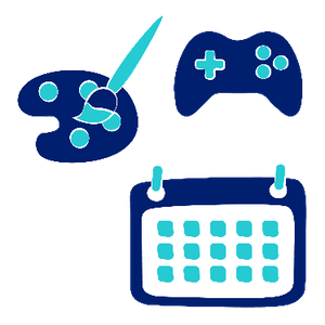 Three images including a paint palette and brush, a game controller, and a calendar