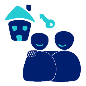 Two people. One person is hugging the other to show support. There is a house and key symbol behind them.
